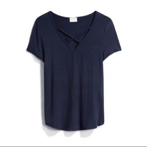 Crisscross Short Sleeve Knit Top